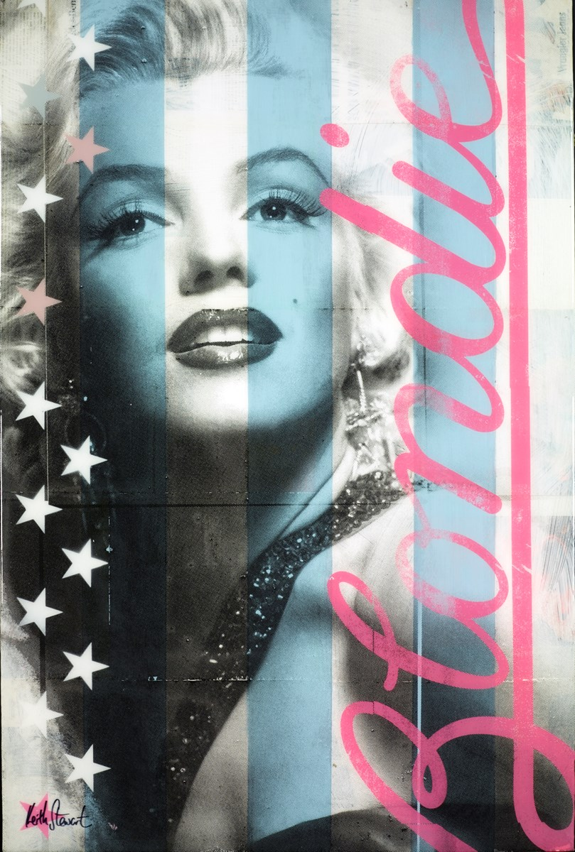 Blondie (Pink on Blue) by keith stewart -  sized 24x36 inches. Available from Whitewall Galleries